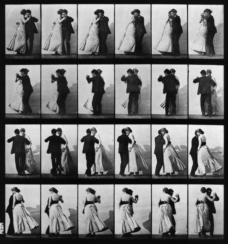 Photo sequence of couple dancing